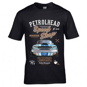 Premium Koolart Petrolhead Speed Shop Motif With American Shelby Mustang Car Image Mens T-shirt Top
